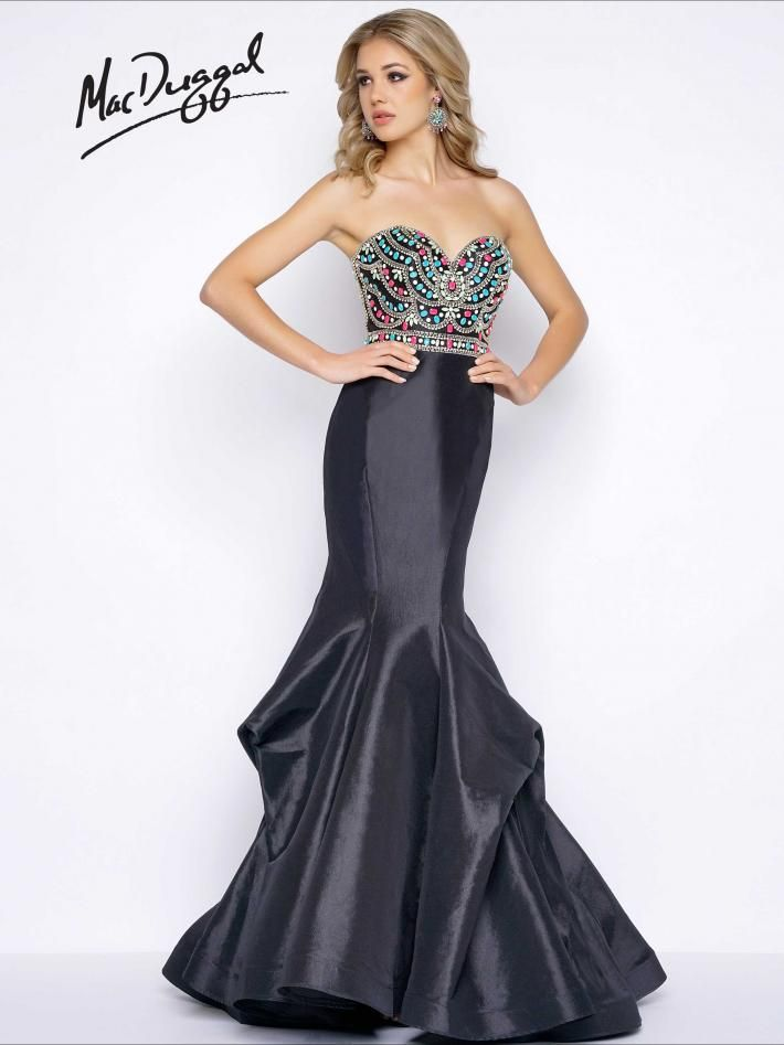Beaded Bodice Black Mermaid Prom Dress | Mac Duggal 65915A