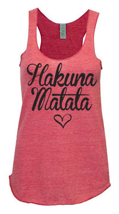 Hakuna Matata Racerback Tank Womens Workout Tank top ECO Racer back clothing running on Etsy, $25.00