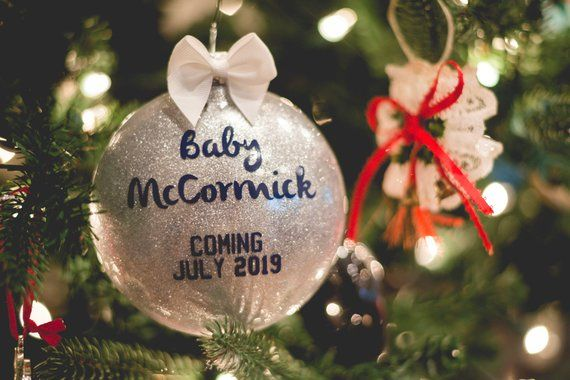 Birth Announcement Christmas Ornament We are Expecting Gift Personalized New Baby Birth Calender Custom Xmas Decor for Parents
