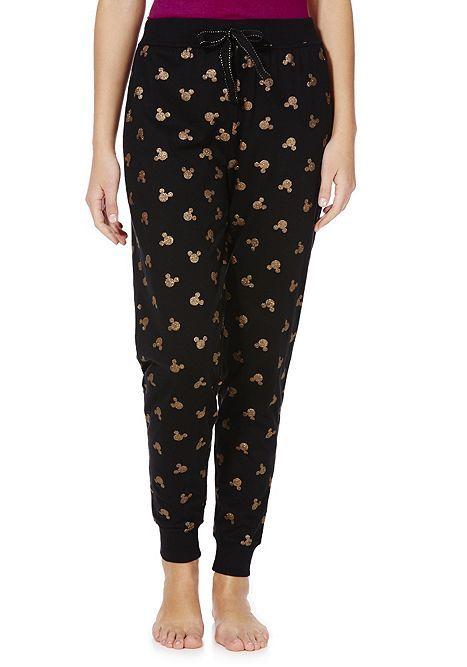 Tesco direct: Disney Mickey Mouse Glittery Logo Cuffed Lounge Pants