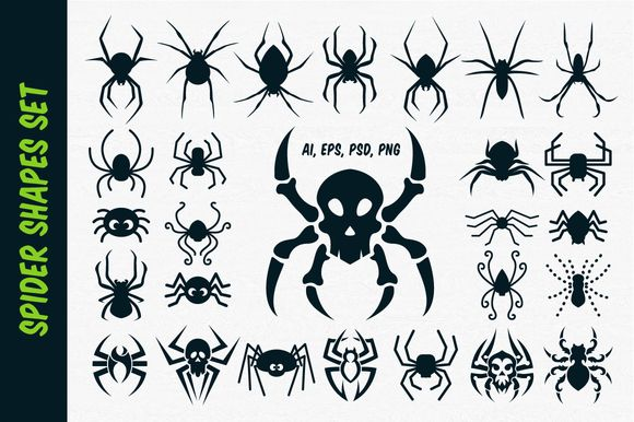Spider Vector Shapes for Halloween by pixaroma on Creative Market