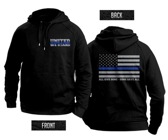 These sweatshirts are printed here in New York and are a 50/50 blend. A portion from each sale will be sent to the National Police Memorial Fund.