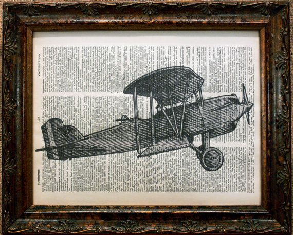 WWI Airplane Art Print on Dictionary Book Page by apageintime, $6.50