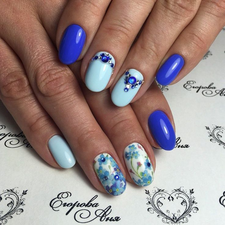 Contrast nails, Expensive nails, flower nail art, Gel polish on the nails oval, Nails ideas with flowers, Nails with flower print, Nails with stones, Original shellac