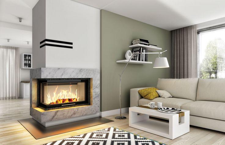 Eleganckie kominki nowoczesne - Hajduk, kominek na bazie wkładu Volcano 2BLTh #kominek #kominki #design #dom #interior #wnętrze
