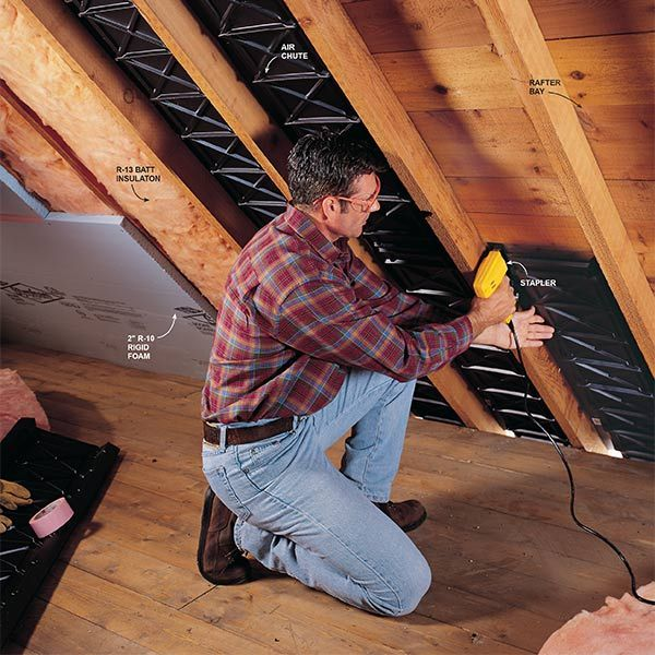 Are you finishing your attic? First you'll need to insulate the ceiling. Here's how to do the job properly.