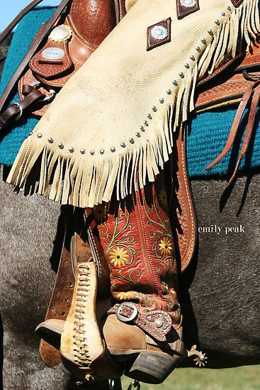 Love cowboy boots, spurs, and chaps and of course a beautiful saddle!