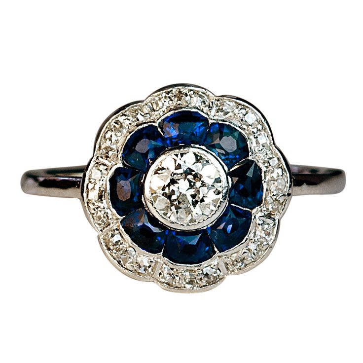 Antique Sapphire and Diamond Engagement Ring c. 1910 | From a unique collection of vintage engagement rings at http://www.1stdibs.com/jewelry/rings/engagement-rings/