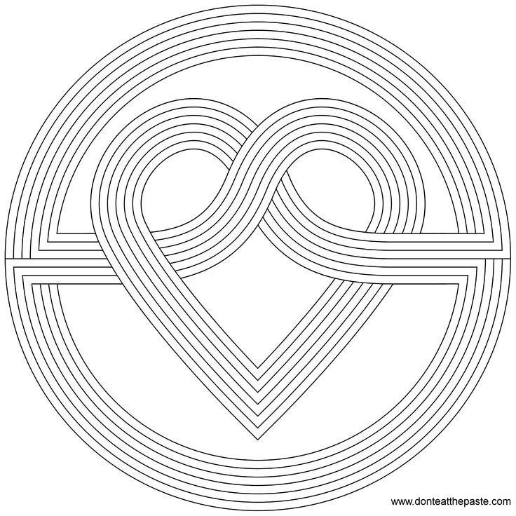 Knot Heart Mandala Pattern Free Printable Coloring PagesUse For Sewing Activity Practice