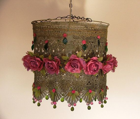 Lacy Hanging Lamp Shade  Lovely Pink Roses by AnatBon on Etsy