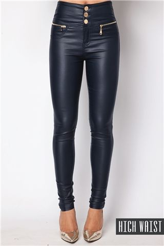 Stacey Navy PU High Waisted Jeans at Misspap.co.uk