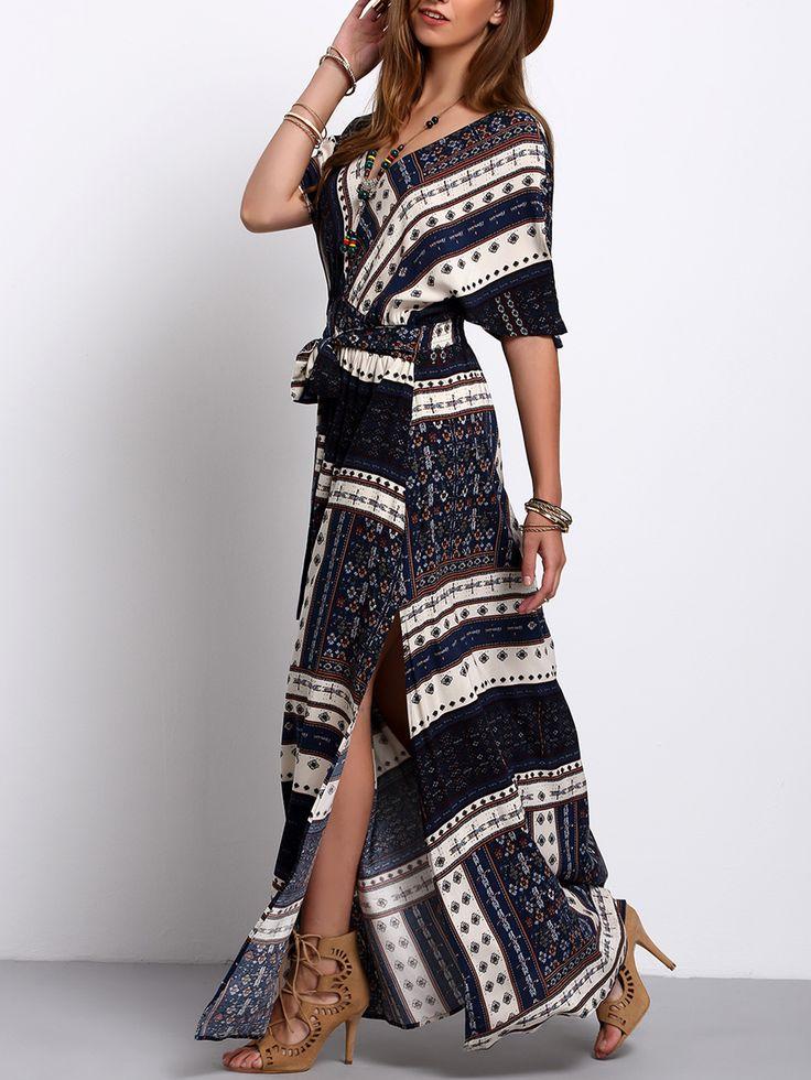 Shop Navy Split Tie-Waist Vintage Print Maxi Dress online. SheIn offers Navy Split Tie-Waist Vintage Print Maxi Dress & more to fit your fashionable needs.