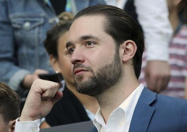 Alexis Ohanian, fiance of Serena Williams, watches Serena play her sister, Venus, in the women's singles final at the Australian Open tennis championships 2017