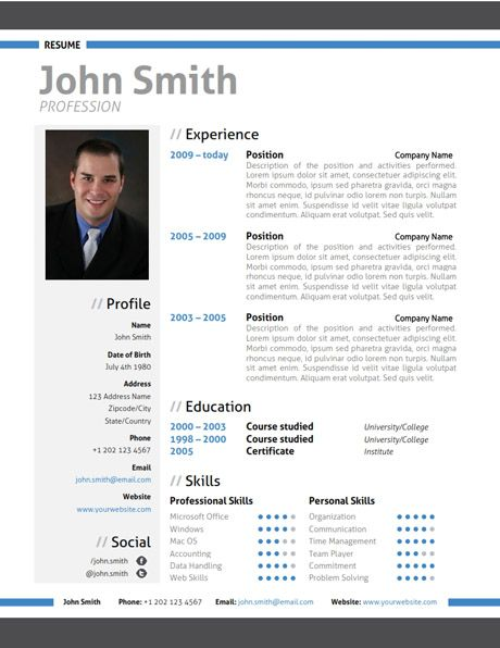 Find the Blue Modern Resume Template on www.cvfolio.com