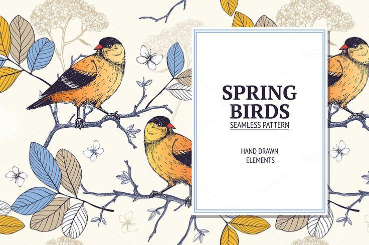 Natural pattern with birds by ievgeniia on @creativemarket