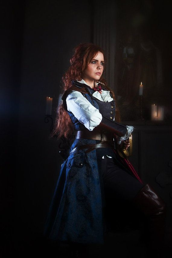 Game Assassin's Creed Unity Elise Élise de la Serre handmade dark blue cosplay costume craft props Made To Order!