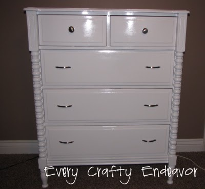 This was a horrid looking cheap dresser completely redone to a much nicer piece in a few easy steps