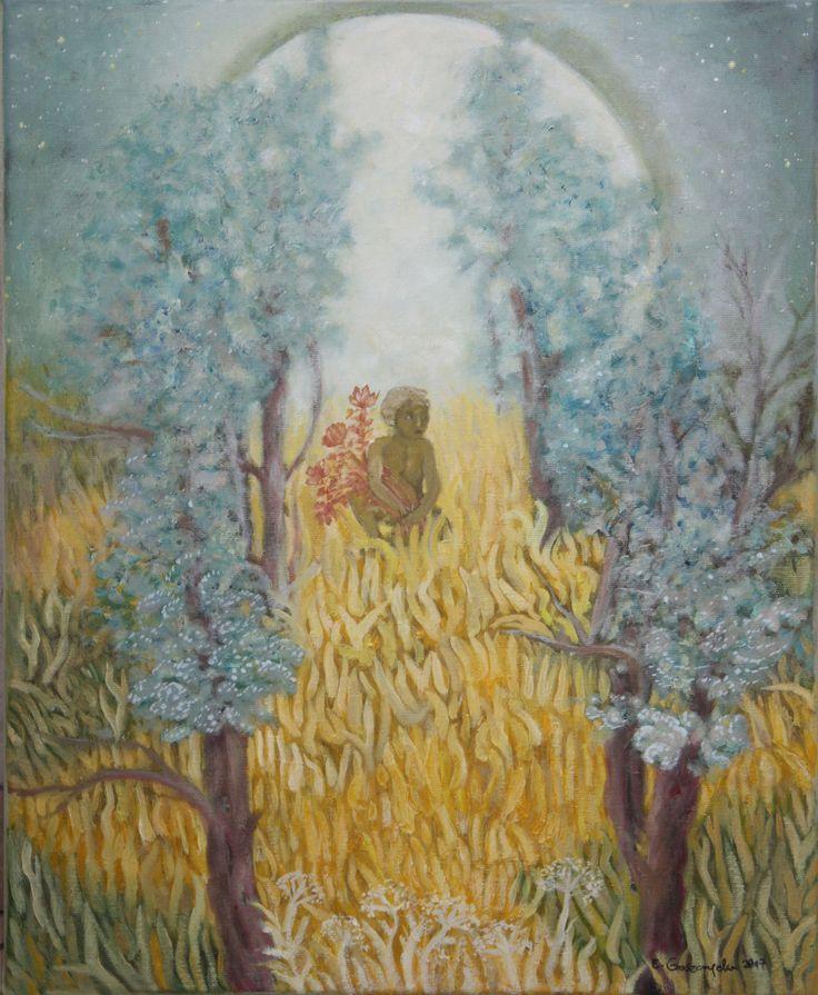 Obraz olejny na płótnie, tytuł: Słońce.  Wymiary: 40 x 50 cm, boki zamalowane. Obraz sygnowany u dołu, na lewym boku opisany nazwiskiem i tytułem.   Obraz jest metaforą - przedstawia słońce jako opalonego chłopca, siedzącego w wysokich żółtych trawach. W rękach trzyma on czerwone, sparzone gorącem kwiaty. Za nim księżyc, który w odpowiednim czasie będzie ustępował mu miejsca na niebie.