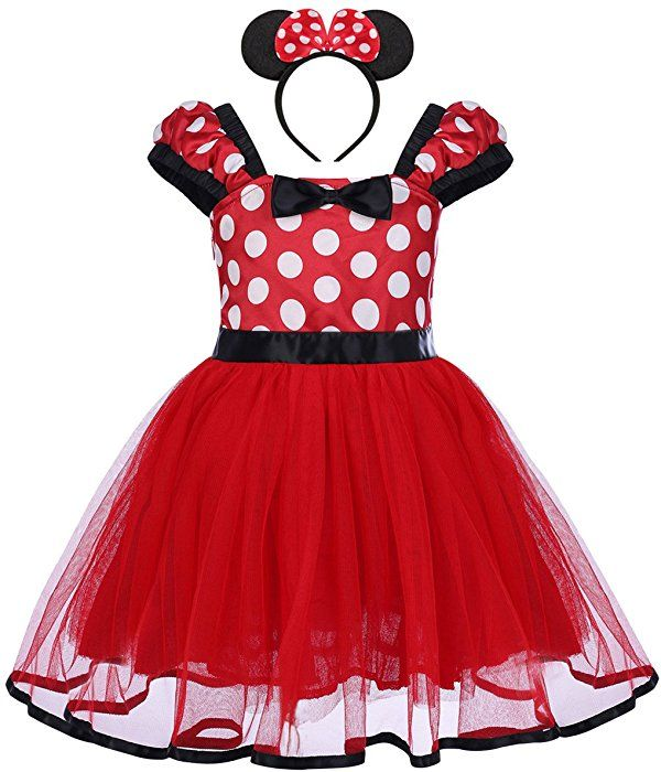 Kids Girls Christmas Minnie Mouse Tutu Dress Fancy Party Costume Ear Set Outfits