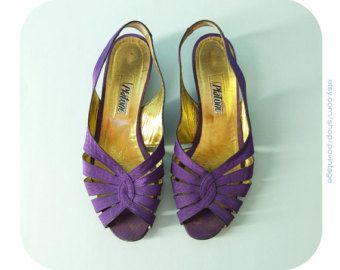 Pourpres sandales, sandales vintage, chaussures vintage taille 37, chaussures d'été