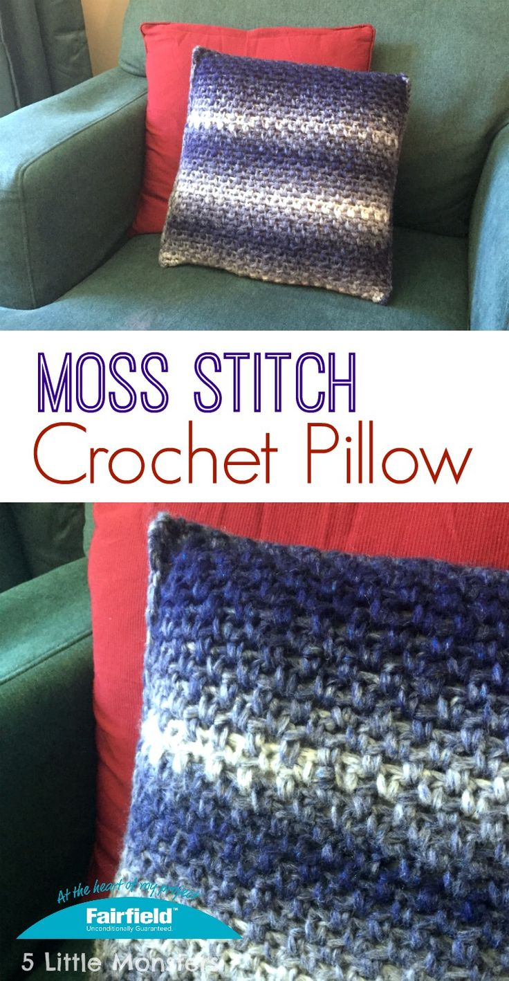A quick and easy crochet pillow cover made using bulky yarn and the moss stitch