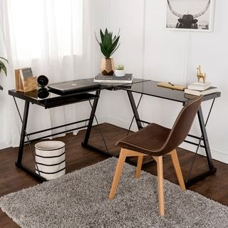 Shop for L-Shape Corner Black Glass Computer Desk. Get free shipping at Overstock.com - Your Online Furniture Outlet Store! Get 5% in rewards with Club O! - 11527597