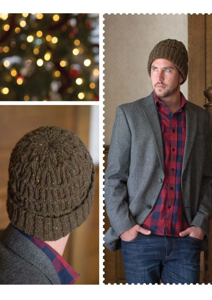 Мужская шапка рельефным узором спицами