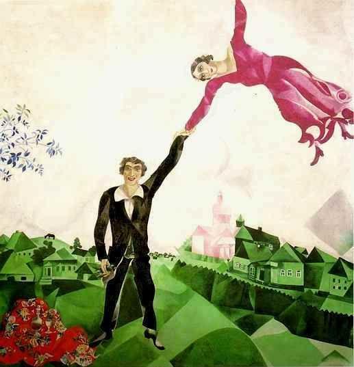 Marc #Chagall, La passeggiata (www.dueminutidiarte.com) #arte #contemporanea #Novecento