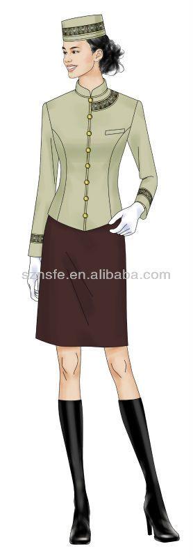 Newest design hotel maids uniform/hotel uniform for waitress $20~$50