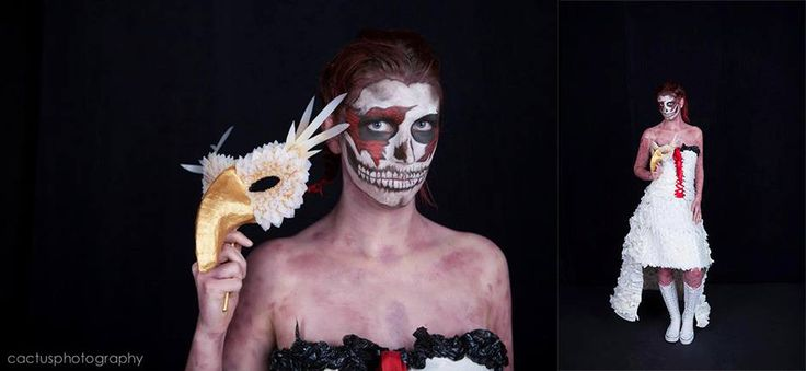 """""""Regeneration"""" my 2012 NZ Body Art Awards entry. Made from an old table cloth, wax paper (stuff on the back of stickers), heat transfer printing ribbon, old lace,  high tensile plastic box strapping, old phone books, plastic protector sheeting from shipping pallets and some ribbon. 99% recycled"""