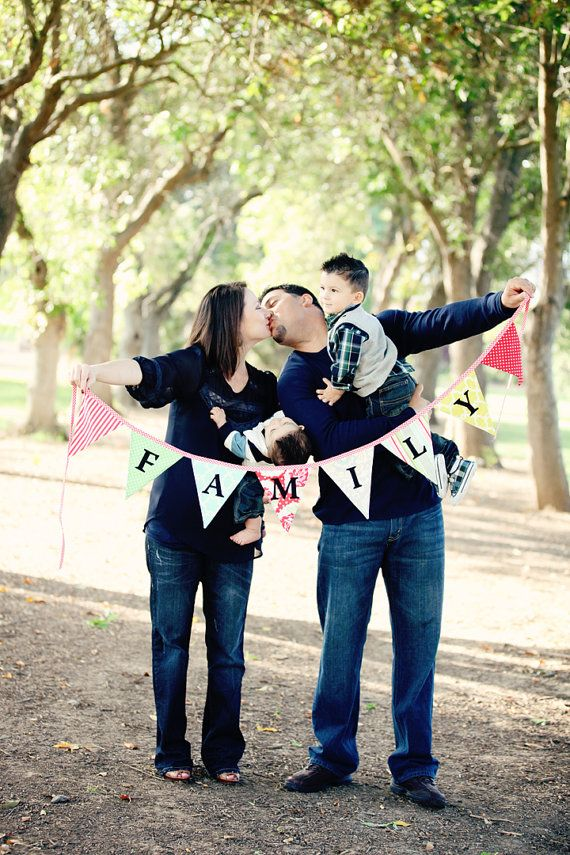 Family, Bunting Flag Photo Prop Decoration. Banner Holiday Decor. Very Chic. Custom Available. on Etsy, $42.00