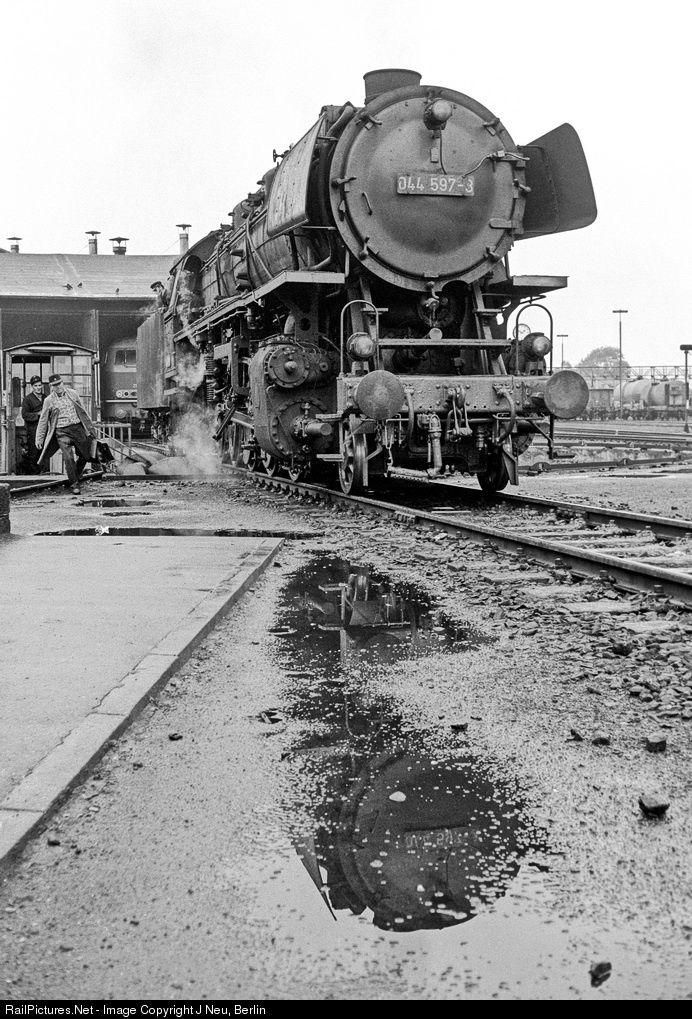 044 597 Deutsche Bundesbahn steam 2-10-0 at Weiden, Germany by J Neu, Berlin