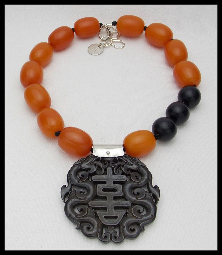 SHANGHAI NIGHTS - Handcarved Jade Pendant - Amber Resin Handknotted Statement Necklace by sandrawebsterjewelry on Etsy