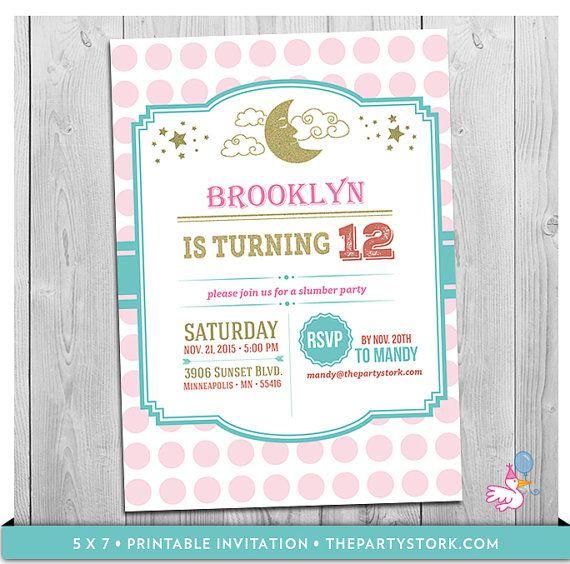 Slumber Party Invitation Printable Slumber Party by thepartystork