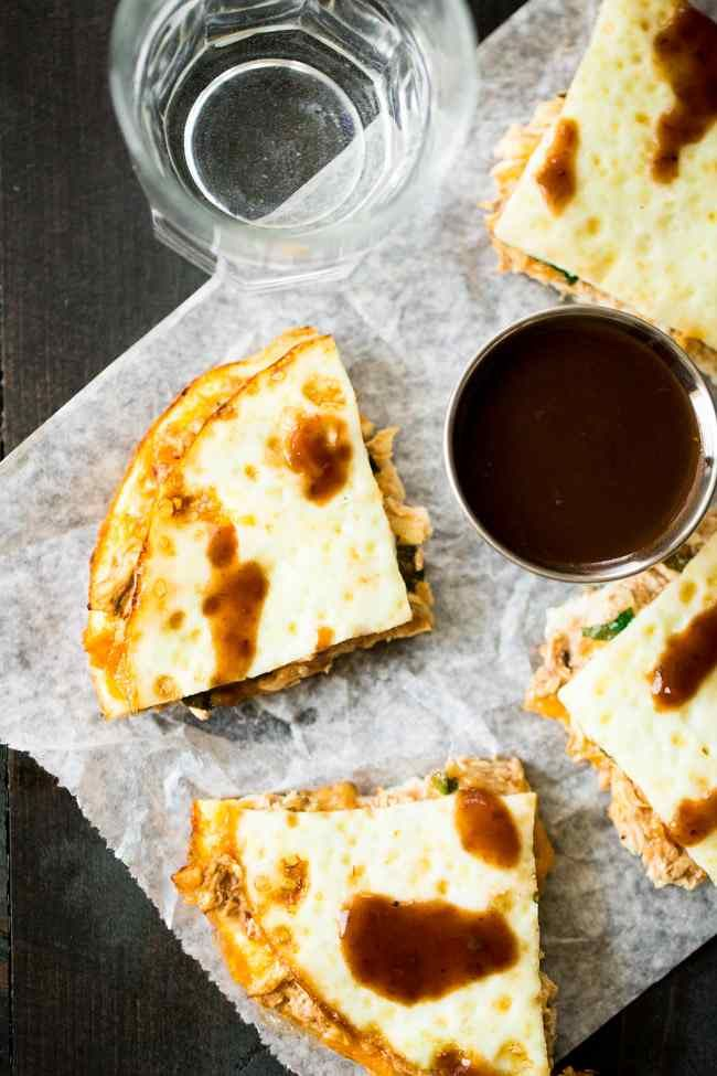 These Healthy Chicken Quesadillas are made with egg whites, so they are light, healthy and protein-packed! They're so easy to make and are sure to be a hit!