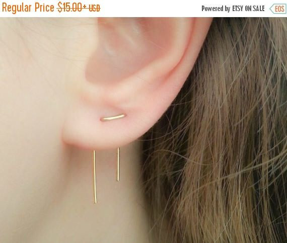 SALE - Double Piercing Earrings-Threader Earrings-Double Lobe Earrings-Double Threader Earrings-Double Piercing-Two hole Earrings-Staple Ear by JewelsByMoonli on Etsy https://www.etsy.com/listing/385807726/sale-double-piercing-earrings-threader