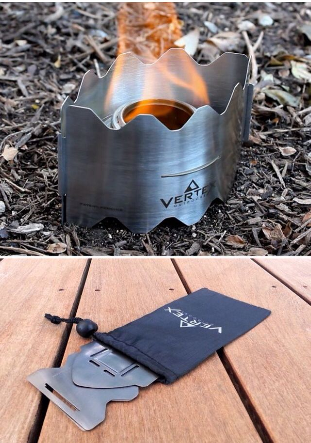 Small, flat, portable fire place to cook food and stay warm.