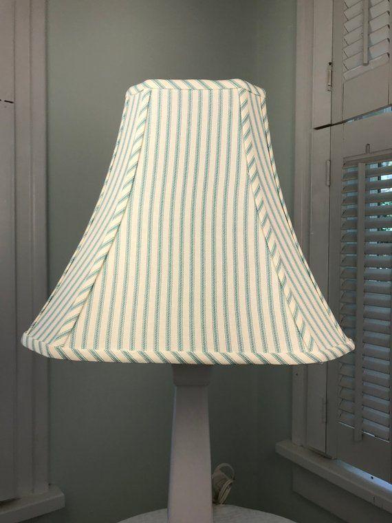 Coastal Lamp Shade Shabby Chic Striped Aqua Blue French Country Shades Pinterest