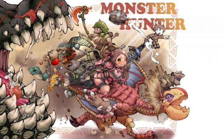 MONSTER HUNTER online mmo rpg fantasy hunting 1mhf action dragon fighting anime warrior dinosaur wallpaper background