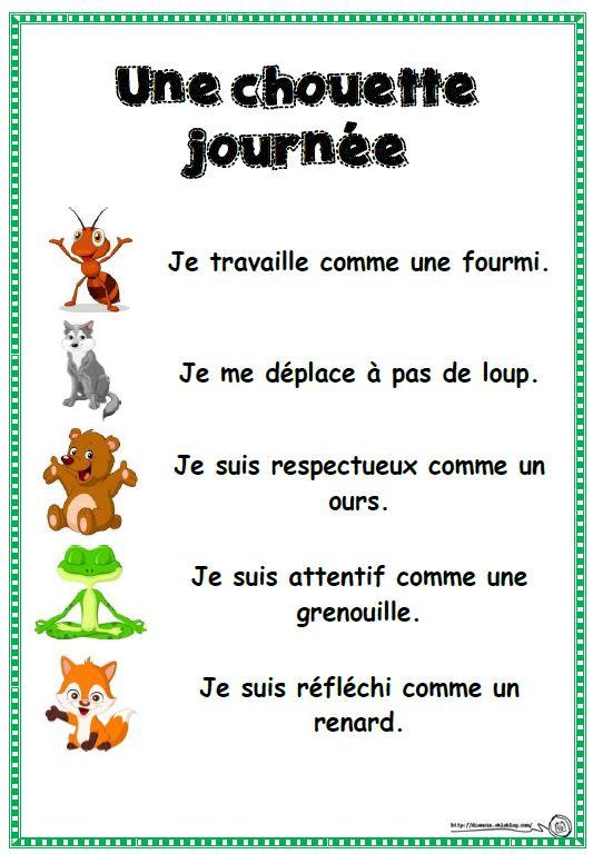 Figurative language: comparisons (similes) in French. Chouette journée - en français