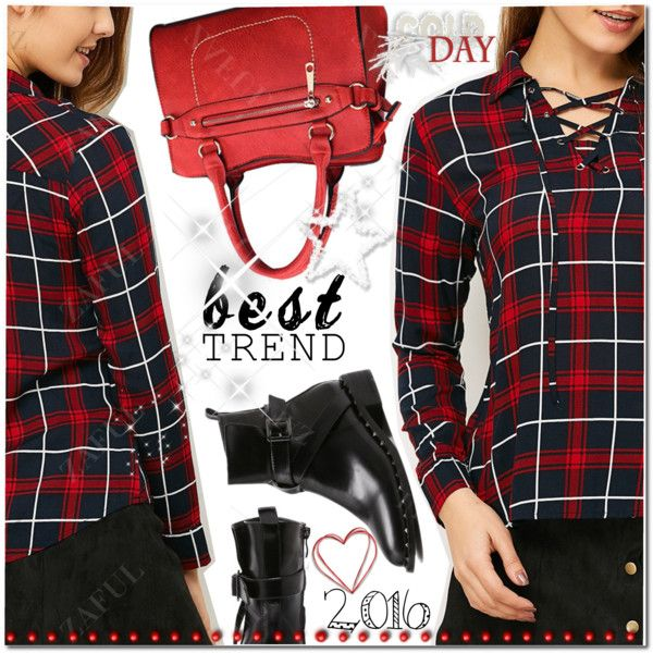 Checked Lace-Up Shirt Outfit Idea 2017