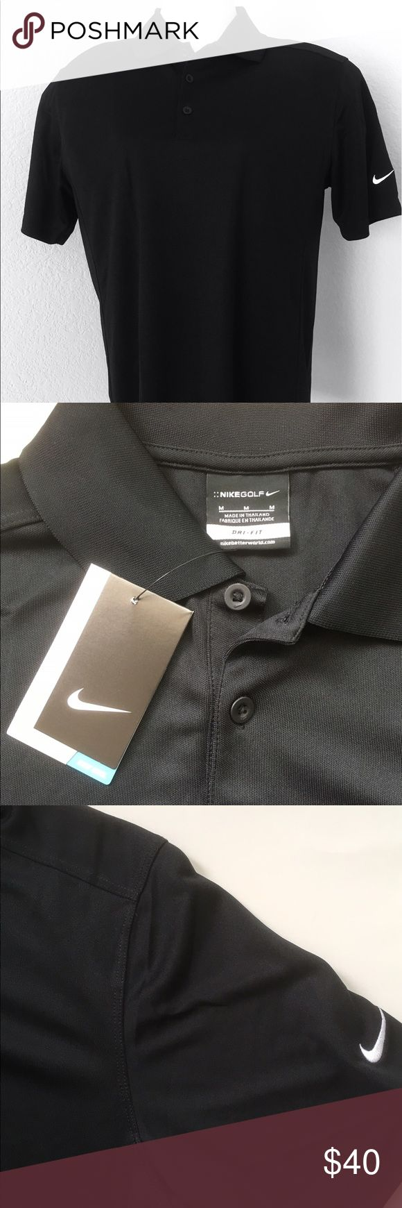 Nike Golf men's polo shirt short sleeves new sz M New with tags Nike Golf men's polo shirt short sleeves new sz M . Chest size 44 inches , that is 22 inches arm pit to arm pit front and 22 inches arm pit to pit back .  Length 29 inches . Soft poly dry fit fabric , at the bottom width is 42 inches ( at the hips ) Nike Shirts Polos