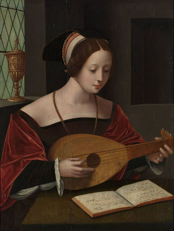 Mary Magdalene singing with the lute,  Master of the Female Half Figures, circa 1530 | Museum Boijmans Van Beuningen