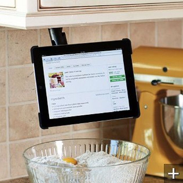 Under cabinet mount iPad holder ~ LOVE this! Especially if it folds up when not in use.