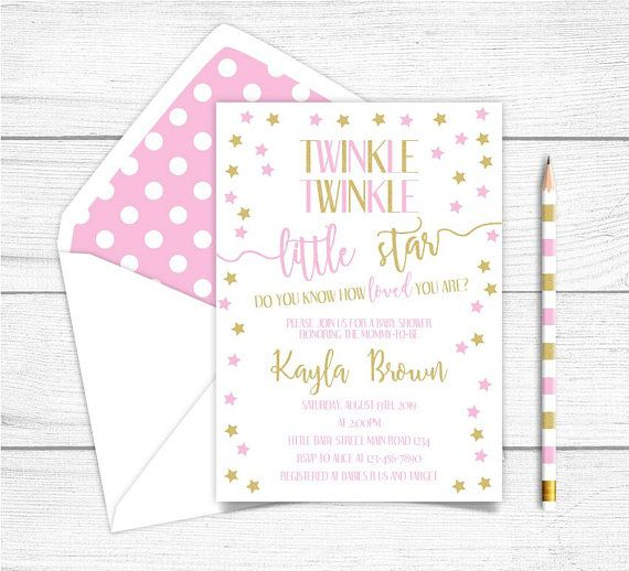 Printable Twinkle, Twinkle Little Star Baby Shower Invitation, Gold Pink Twinkle Stars Baby Shower Invitation, Shinning Stars Baby Shower