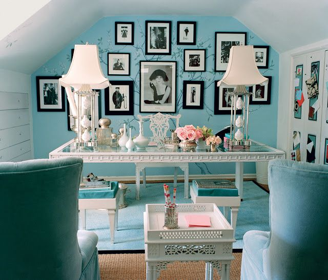 12 Clues You May Be Tiffany Blue walls and armchairs in a Mary Macdonald designed office space. Obsessed with Interior Design - Hello Lovely