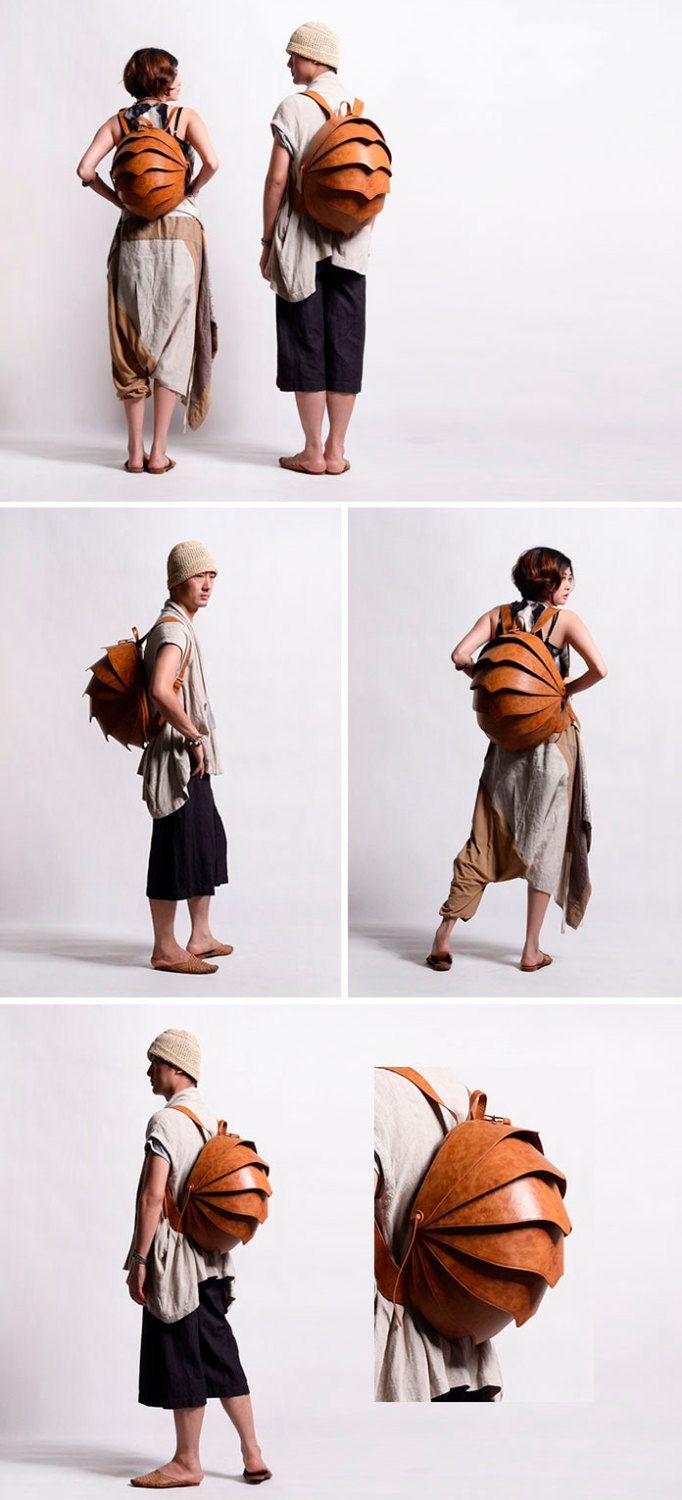 Leather Backpack for Men or For Women-Large Brown by KiliDesign