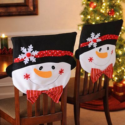 Mr. & Mrs. Snowman Chair Covers, Set of 2