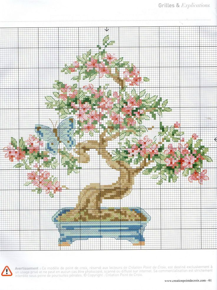 Borduurpatroon Bloem- Plant- Dier *Cross Stitch Flower- Plant- Animal ~Bonsai~