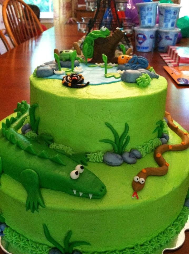 Reptile birthday cake. Inspired by an online design.